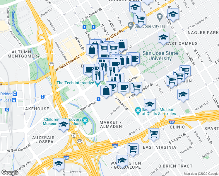 map of restaurants, bars, coffee shops, grocery stores, and more near South Market Street in San Jose
