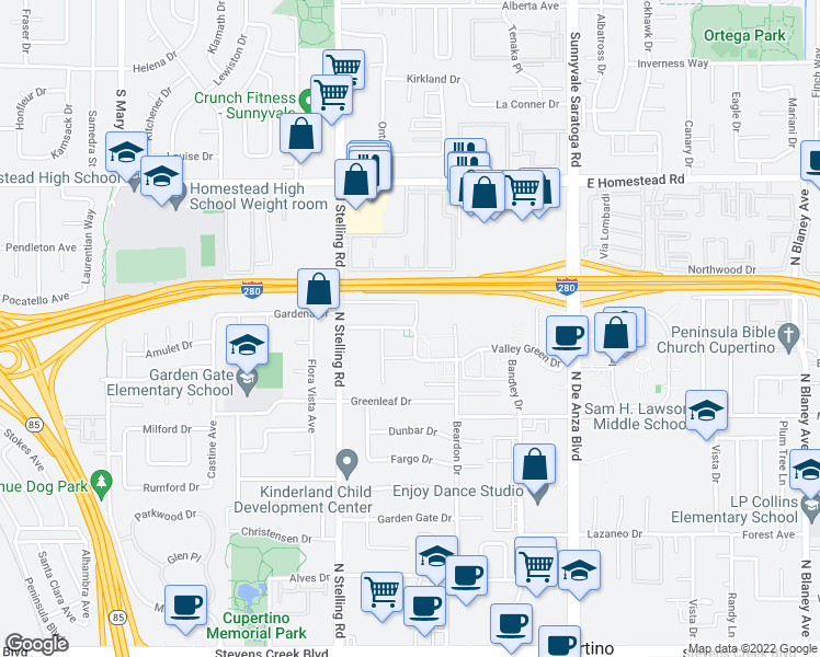 map of restaurants, bars, coffee shops, grocery stores, and more near 20875 Valley Green Dr in Cupertino
