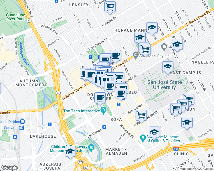 map of restaurants, bars, coffee shops, grocery stores, and more near 66 S 1st St in San Jose