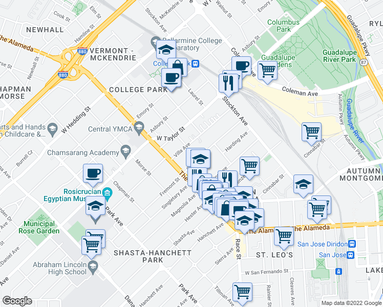 map of restaurants, bars, coffee shops, grocery stores, and more near 987 Schiele Ave in San Jose