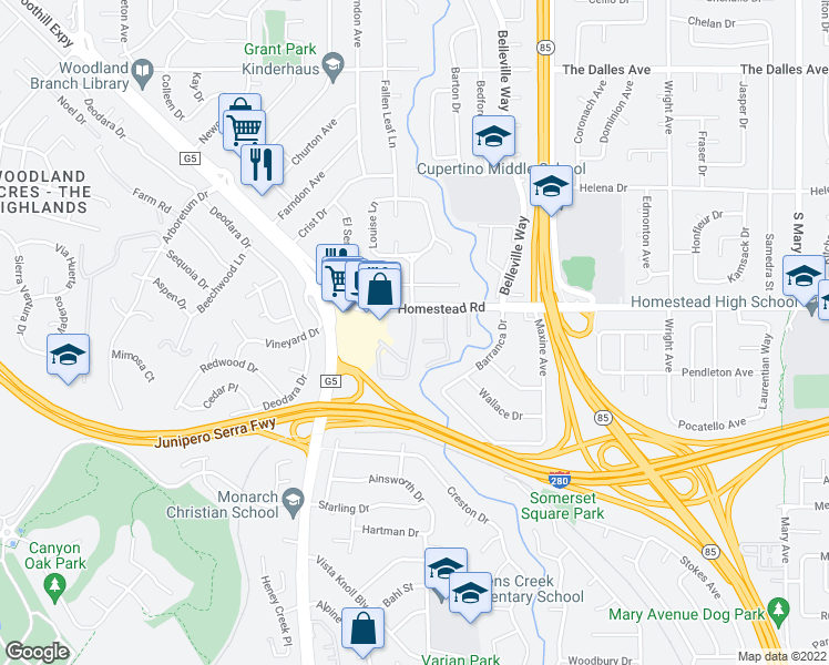 map of restaurants, bars, coffee shops, grocery stores, and more near 2220 Homestead Ct in Los Altos