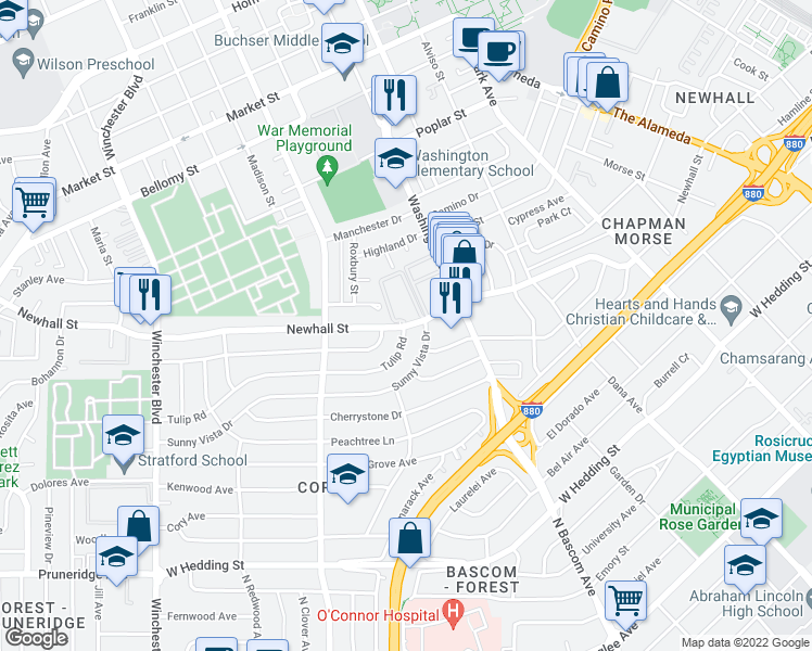 map of restaurants, bars, coffee shops, grocery stores, and more near 2147 Newhall Street in Santa Clara