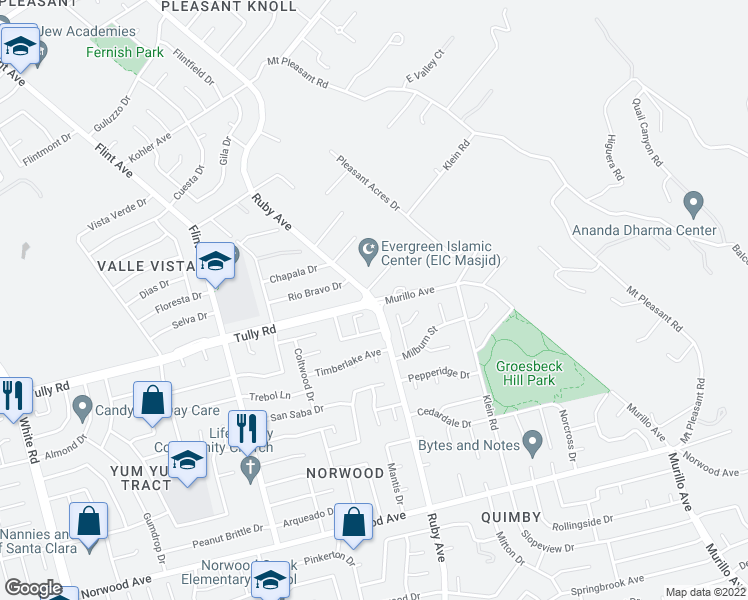 map of restaurants, bars, coffee shops, grocery stores, and more near Tully Rd & Ruby Ave in San Jose