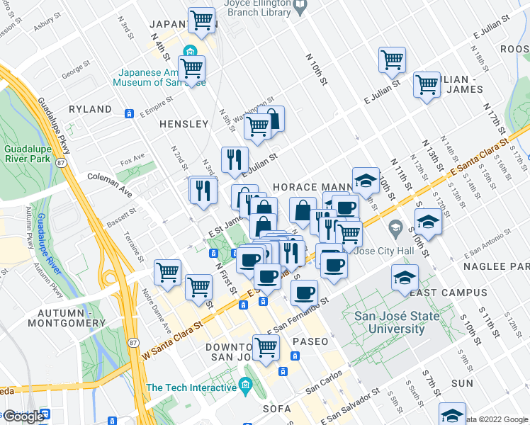 map of restaurants, bars, coffee shops, grocery stores, and more near 197 N 5th St in San Jose