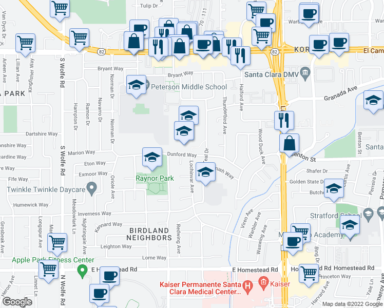 map of restaurants, bars, coffee shops, grocery stores, and more near 1077-1095 Dunford Way in Sunnyvale
