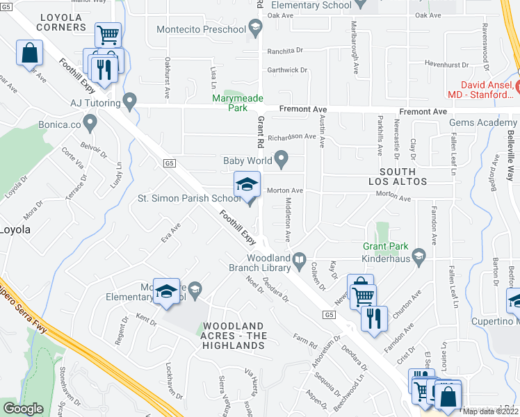 map of restaurants, bars, coffee shops, grocery stores, and more near 1316 Middleton Court in Los Altos