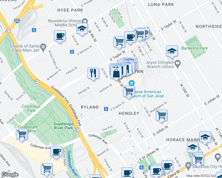 map of restaurants, bars, coffee shops, grocery stores, and more near 589 North 3rd Street in San Jose