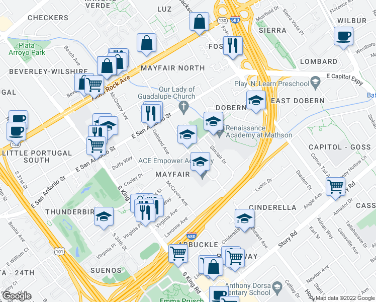 map of restaurants, bars, coffee shops, grocery stores, and more near 473-625 South Sunset Avenue in San Jose