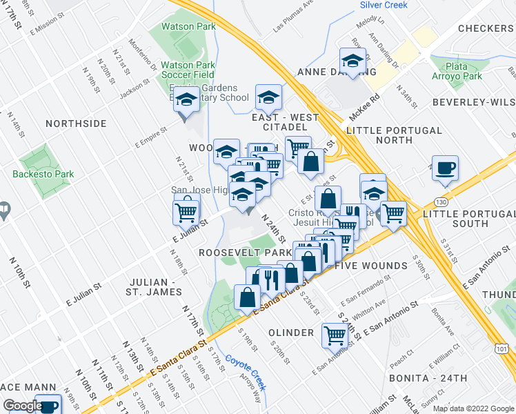map of restaurants, bars, coffee shops, grocery stores, and more near in San Jose