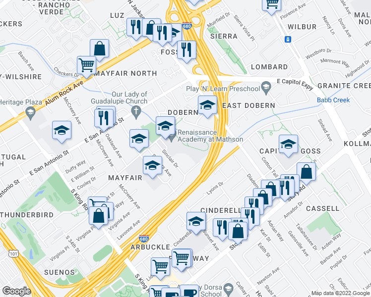 map of restaurants, bars, coffee shops, grocery stores, and more near 2228 Dobern Ave in San Jose
