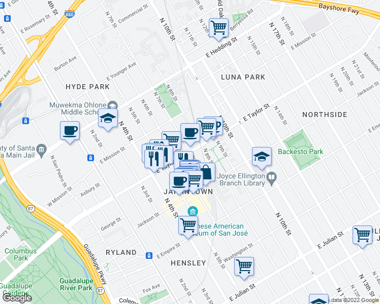 map of restaurants, bars, coffee shops, grocery stores, and more near E