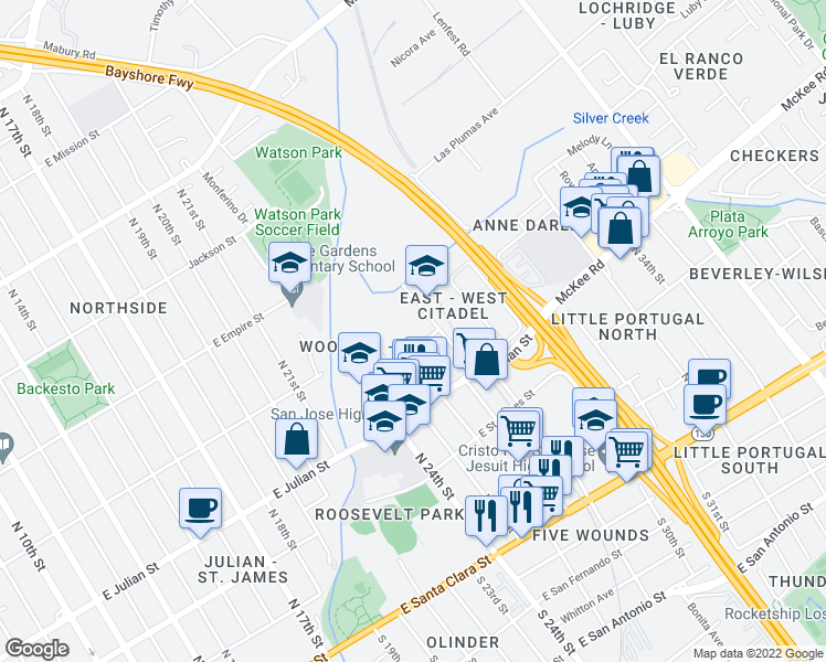 map of restaurants, bars, coffee shops, grocery stores, and more near 400-446 Wooster Avenue in San Jose