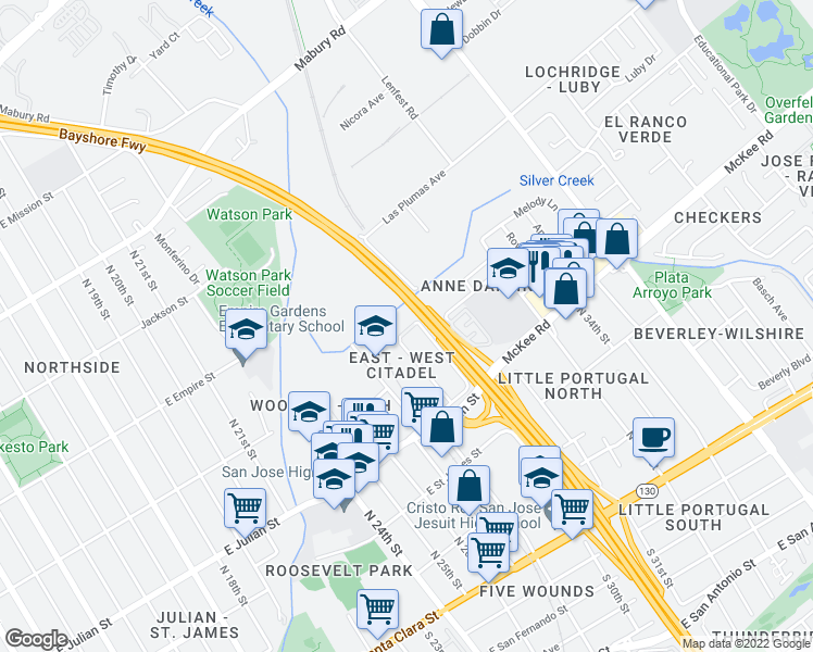 map of restaurants, bars, coffee shops, grocery stores, and more near 399 East Court in San Jose