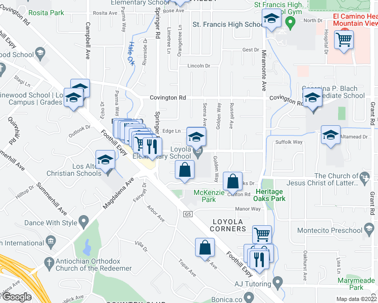 map of restaurants, bars, coffee shops, grocery stores, and more near 751 Alvina Ct in Los Altos