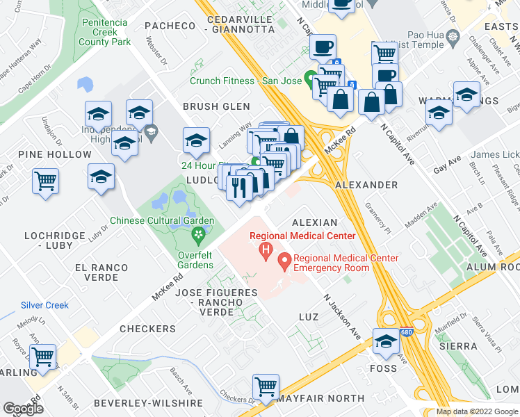 map of restaurants, bars, coffee shops, grocery stores, and more near McKee Rd & N Jackson Ave in San Jose