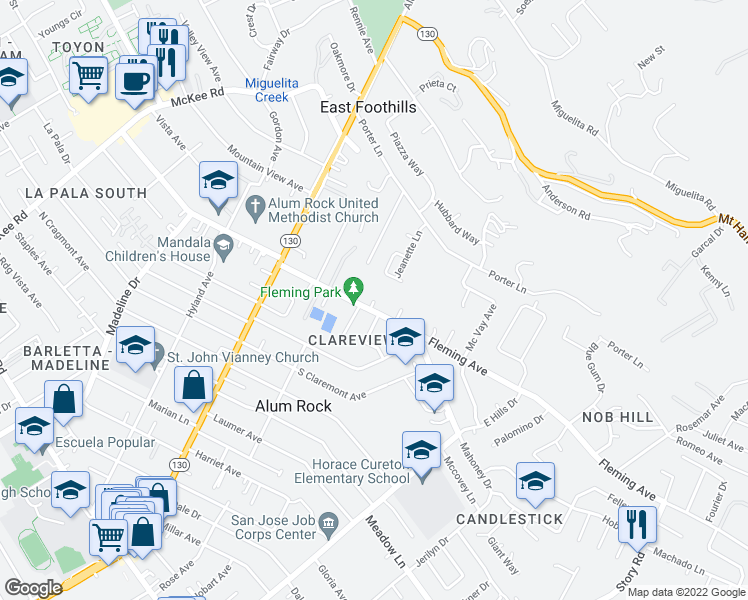 map of restaurants, bars, coffee shops, grocery stores, and more near Fleming Ct in San Jose
