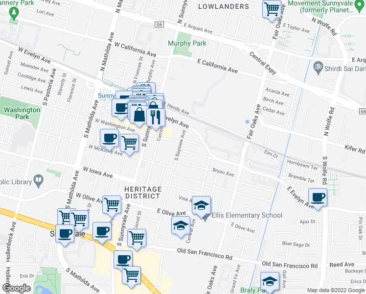 map of restaurants, bars, coffee shops, grocery stores, and more near 208 S Bayview Ave in Sunnyvale