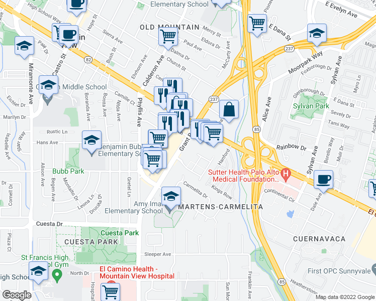map of restaurants, bars, coffee shops, grocery stores, and more near 119 Post St in Mountain View