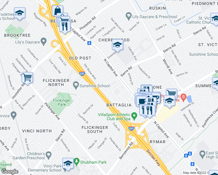 map of restaurants, bars, coffee shops, grocery stores, and more near Old Abbey Pl in San Jose
