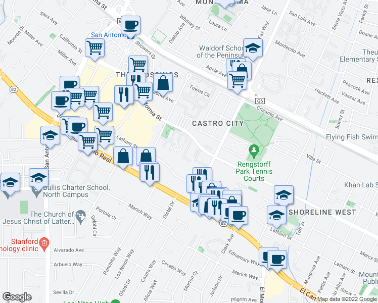 map of restaurants, bars, coffee shops, grocery stores, and more near 2139-2187 California Street in Mountain View