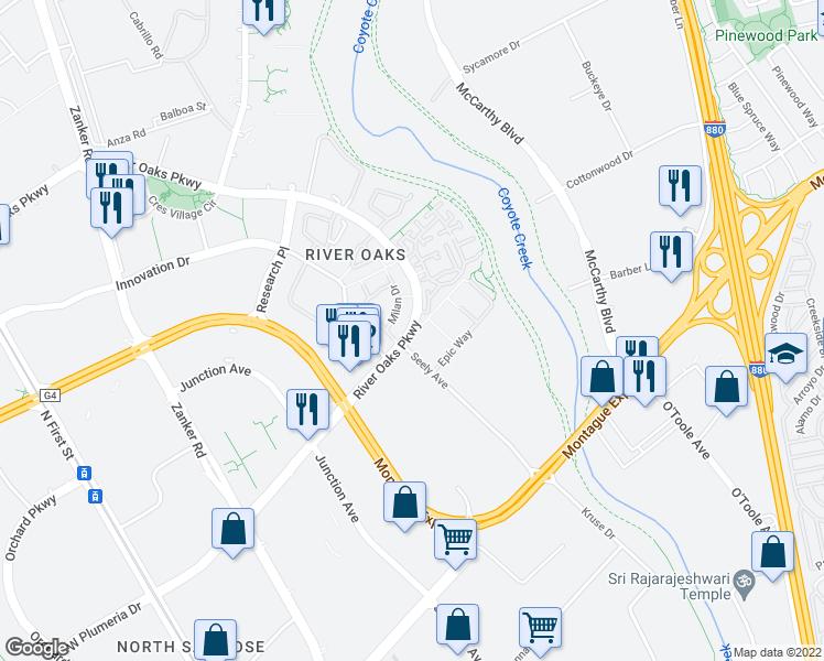 map of restaurants, bars, coffee shops, grocery stores, and more near 593-611 River Oaks Parkway in San Jose