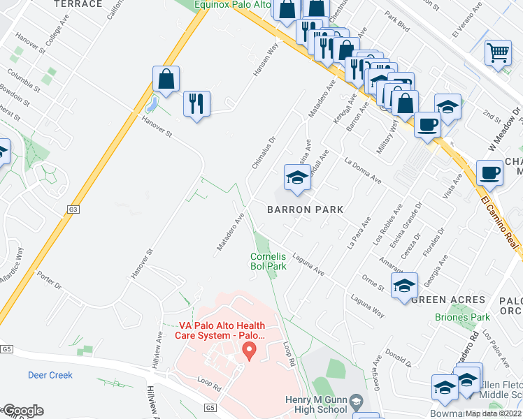 map of restaurants, bars, coffee shops, grocery stores, and more near 3540 La Mata Way in Palo Alto