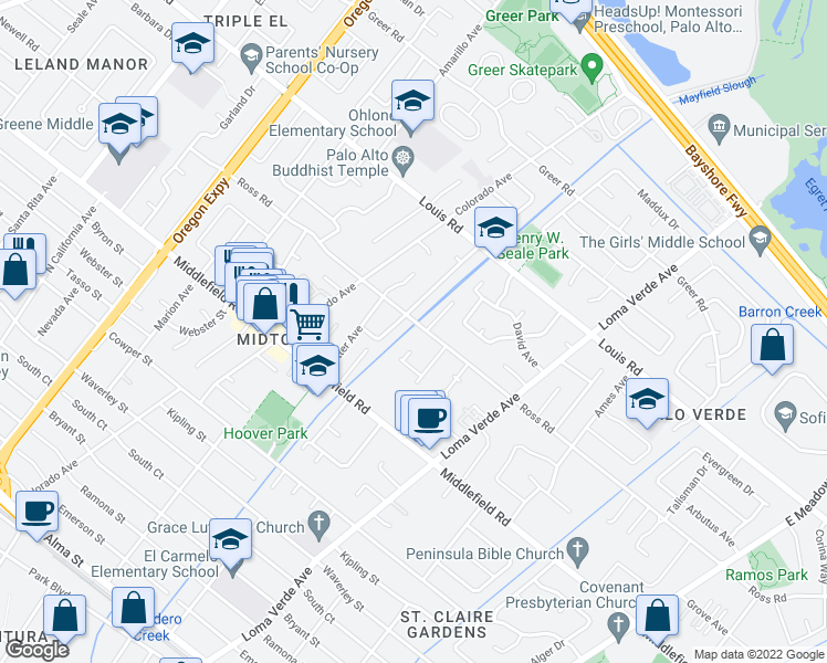 map of restaurants, bars, coffee shops, grocery stores, and more near 3008 Ross Road in Palo Alto
