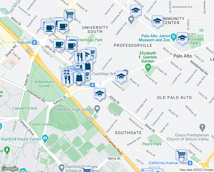 map of restaurants, bars, coffee shops, grocery stores, and more near 136 Kingsley Avenue in Palo Alto