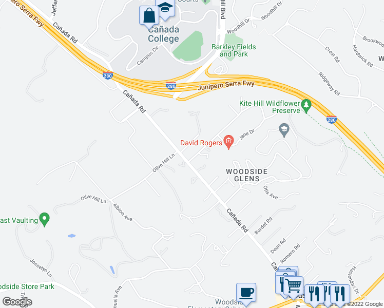 map of restaurants, bars, coffee shops, grocery stores, and more near 115 Laning Dr in Woodside