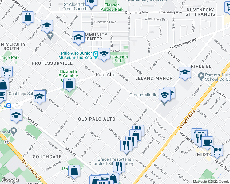 map of restaurants, bars, coffee shops, grocery stores, and more near 627 Tennyson Avenue in Palo Alto