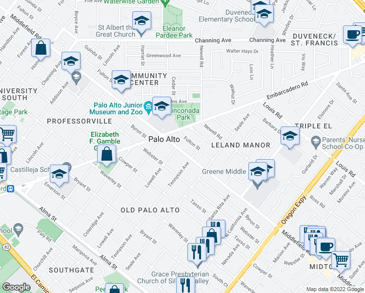 map of restaurants, bars, coffee shops, grocery stores, and more near 1717 Middlefield Road in Palo Alto