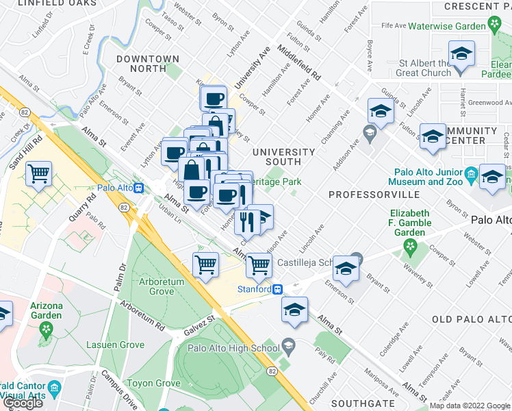 map of restaurants, bars, coffee shops, grocery stores, and more near 771 Ramona St in Palo Alto