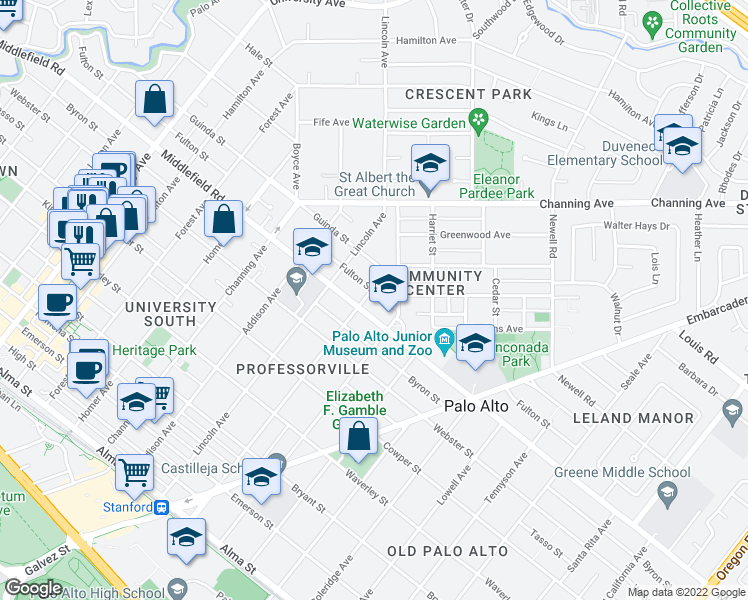 map of restaurants, bars, coffee shops, grocery stores, and more near 1212 Fulton Street in Palo Alto