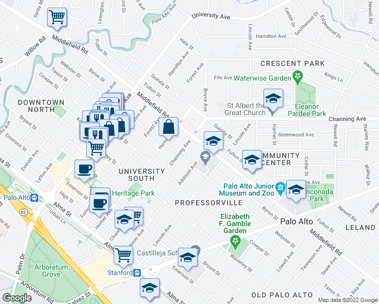 map of restaurants, bars, coffee shops, grocery stores, and more near 934 Webster St in Palo Alto