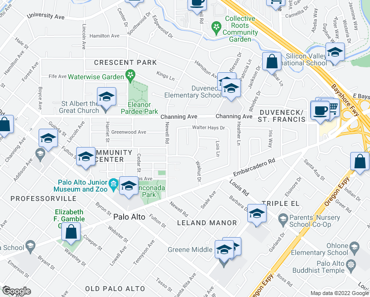 map of restaurants, bars, coffee shops, grocery stores, and more near 98 Erstwild Court in Palo Alto