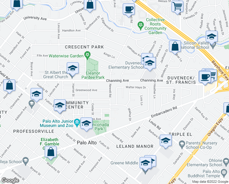 map of restaurants, bars, coffee shops, grocery stores, and more near 256 Walter Hays Drive in Palo Alto