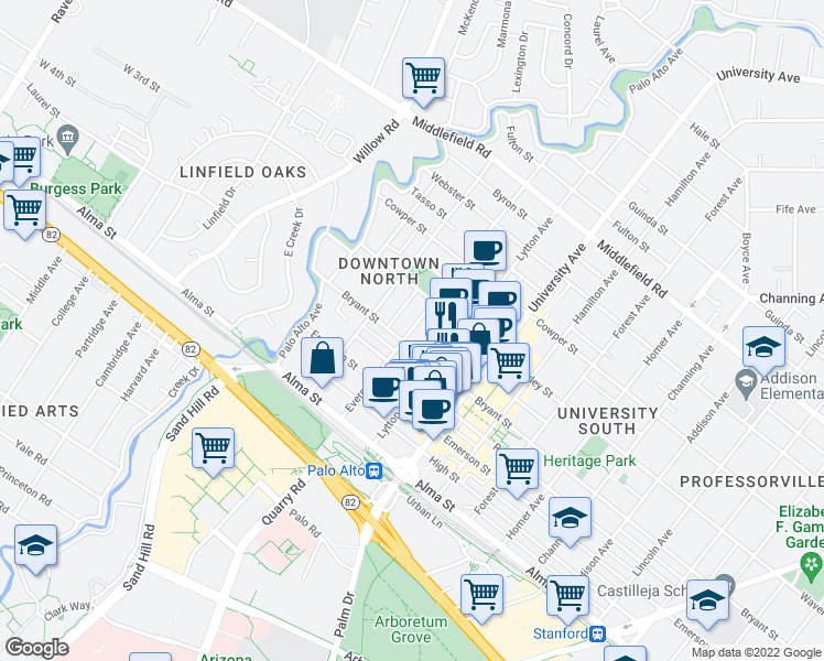 map of restaurants, bars, coffee shops, grocery stores, and more near 281 Everett Avenue in Palo Alto