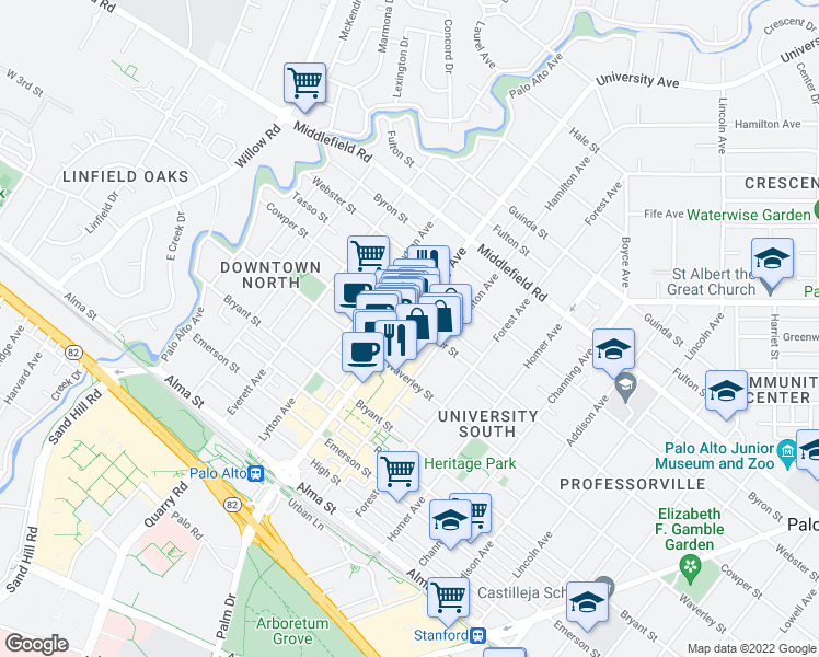 map of restaurants, bars, coffee shops, grocery stores, and more near 544 Cowper St in Palo Alto