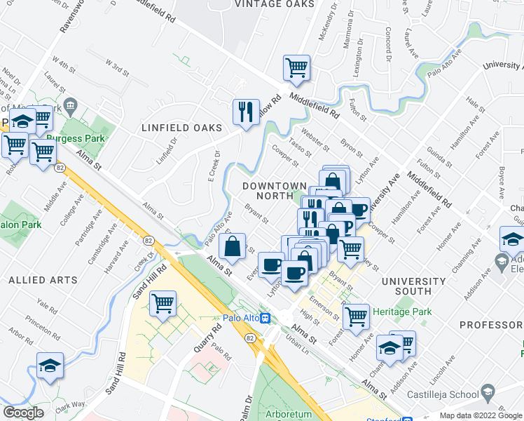 map of restaurants, bars, coffee shops, grocery stores, and more near 187 Bryant Street in Palo Alto