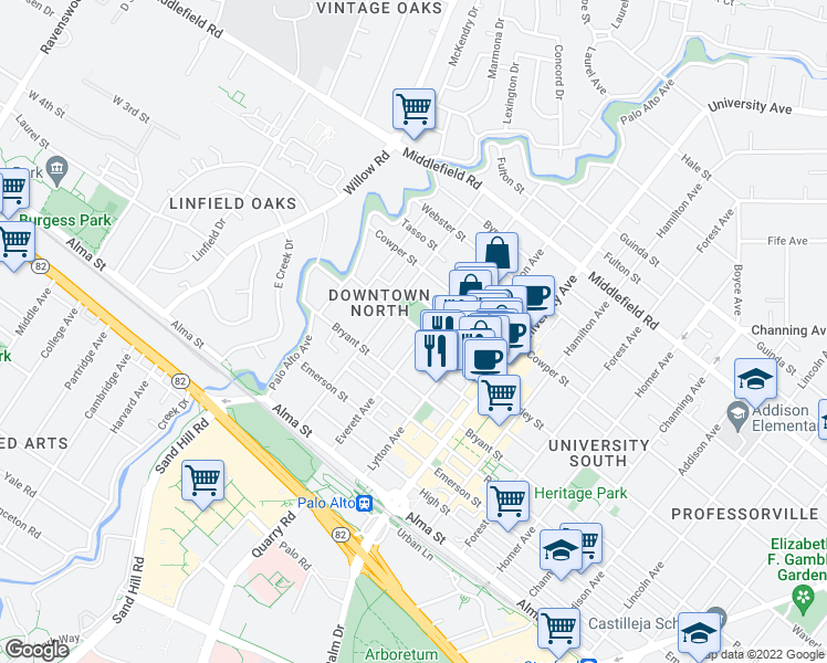 map of restaurants, bars, coffee shops, grocery stores, and more near 280 Waverley Street in Palo Alto