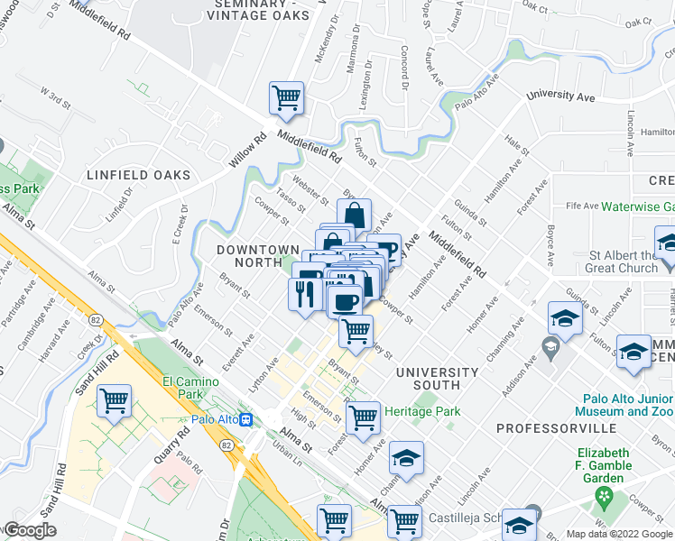 map of restaurants, bars, coffee shops, grocery stores, and more near 489 Lytton Avenue in Palo Alto