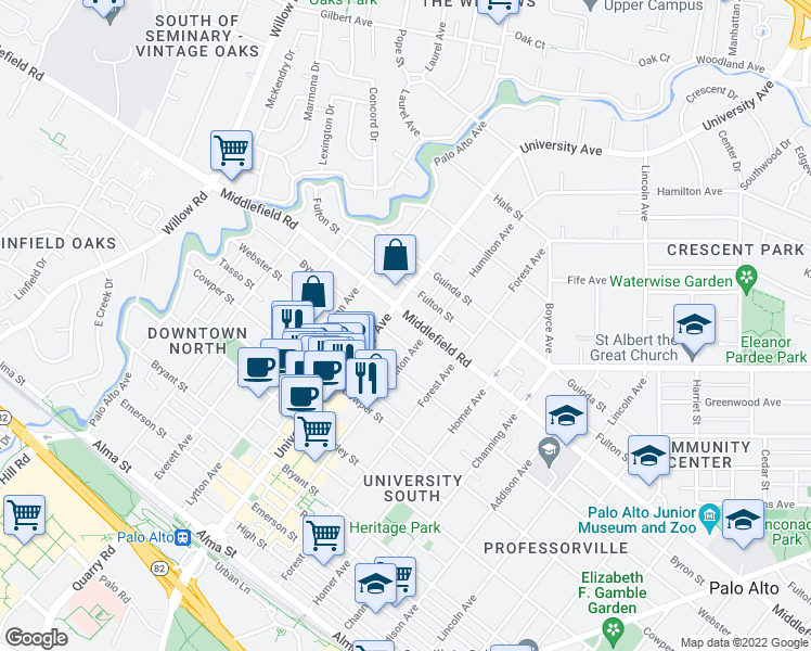map of restaurants, bars, coffee shops, grocery stores, and more near 555 Byron Street in Palo Alto