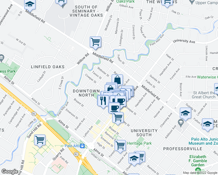 map of restaurants, bars, coffee shops, grocery stores, and more near 521 Everett Avenue in Palo Alto