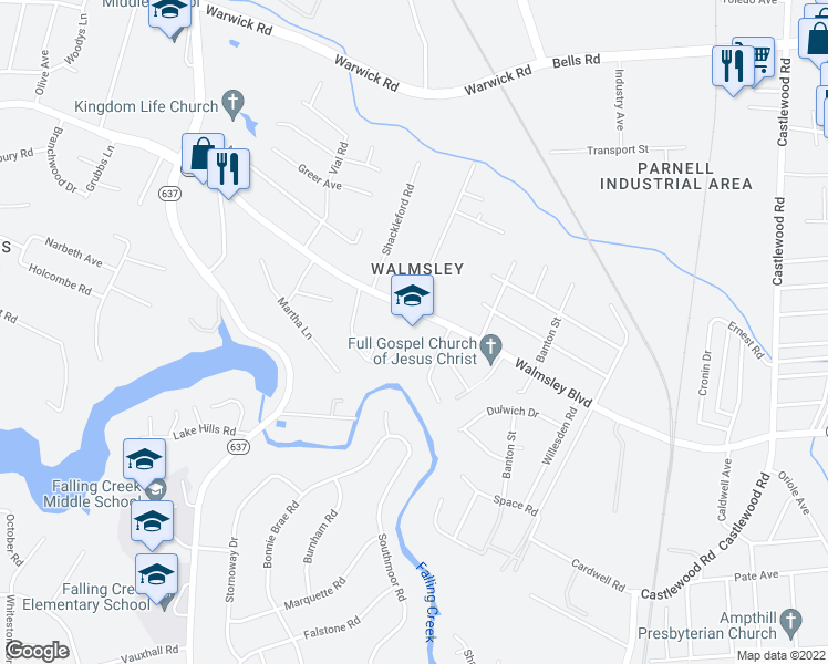map of restaurants, bars, coffee shops, grocery stores, and more near 3323 Walmsley Blvd in Richmond