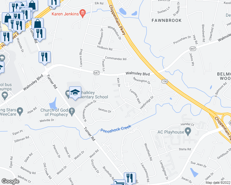 map of restaurants, bars, coffee shops, grocery stores, and more near 3128 Kim Dr in Richmond