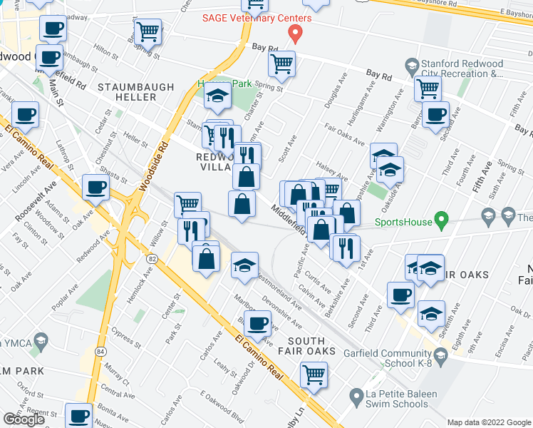 map of restaurants, bars, coffee shops, grocery stores, and more near 2607 Middlefield Rd in Redwood City