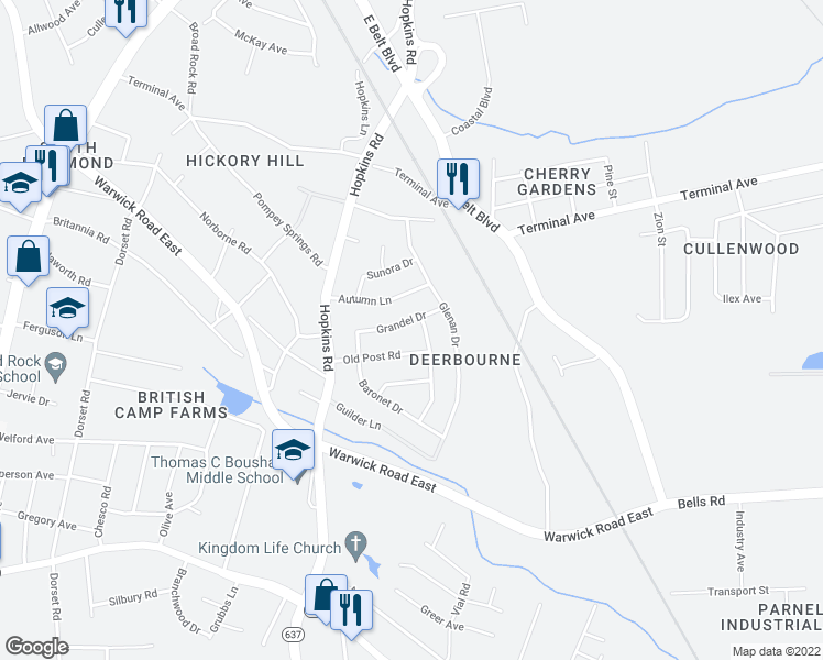 map of restaurants, bars, coffee shops, grocery stores, and more near 2913-2919 Kelrae Drive in Richmond