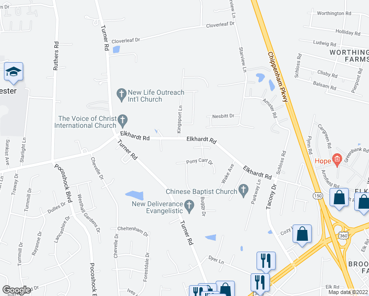 map of restaurants, bars, coffee shops, grocery stores, and more near 7209 Elkhardt Road in Richmond