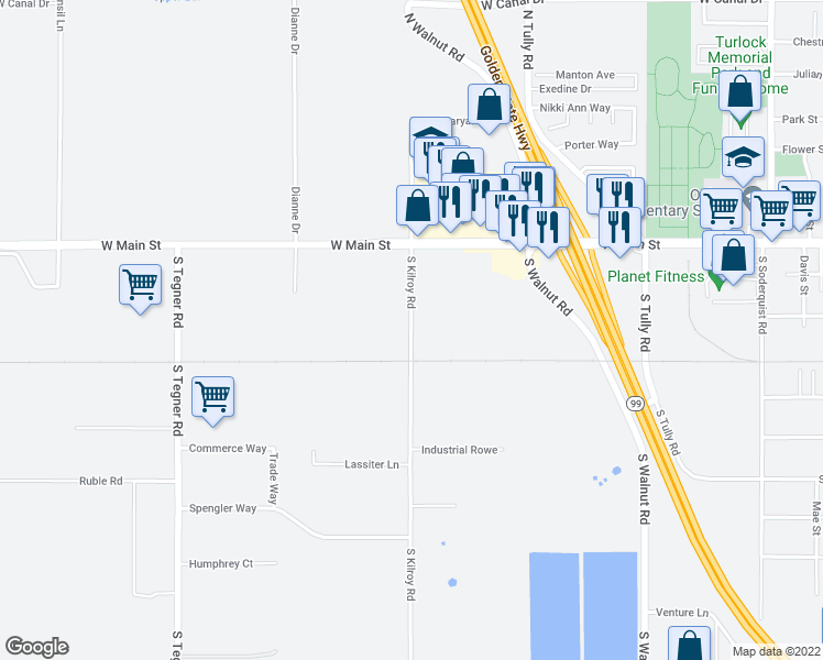 map of restaurants, bars, coffee shops, grocery stores, and more near 525 S Kilroy Rd in Turlock