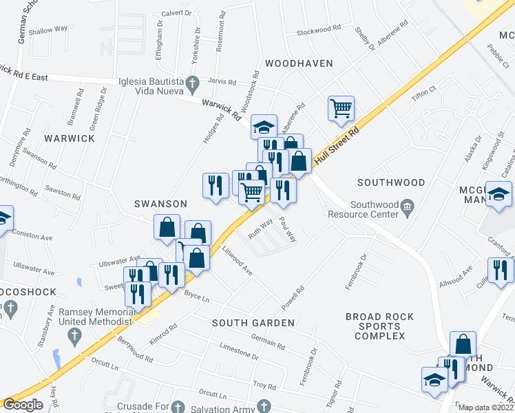 map of restaurants, bars, coffee shops, grocery stores, and more near 5304 Hull Street Rd in Richmond